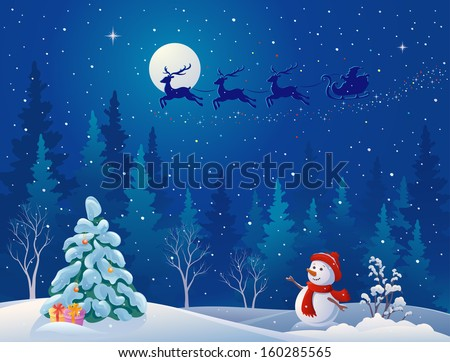 Vector illustration of Santa sleigh driving over woods, and greeting snow man - stock vector