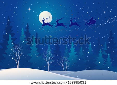 Vector illustration of Santa sleigh flying over snowy north woods - stock vector
