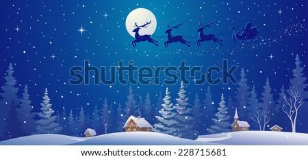 Vector illustration of Santa sleigh flying over village - stock vector