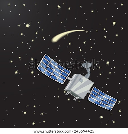 Vector illustration of satellite in space among the stars - stock vector
