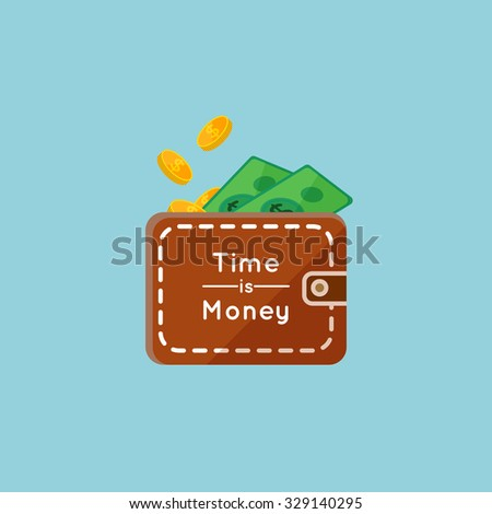 vector illustration of Saving money flat business concept, filling money with eather purse - stock vector