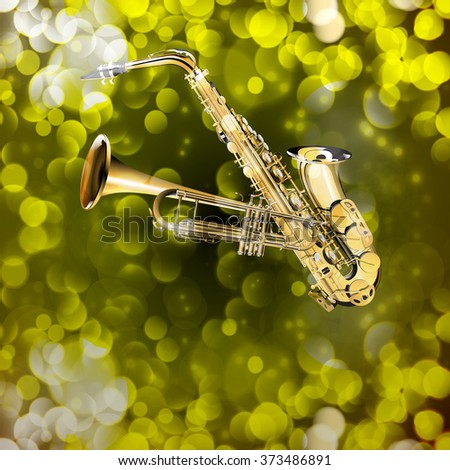 Vector illustration of saxophone and trumpet on the background with flares. You can use any text as a poster, advertisement or separately. The work is done without the reference image. - stock vector