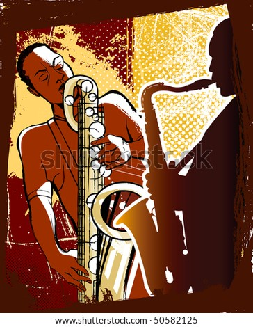 Vector illustration of saxophonists on a grunge background - stock vector