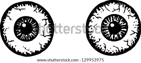 Vector illustration of scared eyes - stock vector