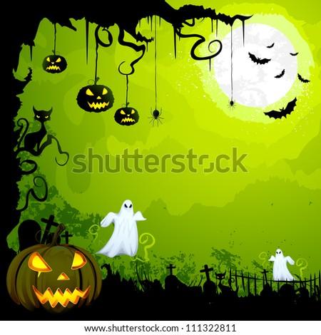 vector illustration of scary Halloween night - stock vector