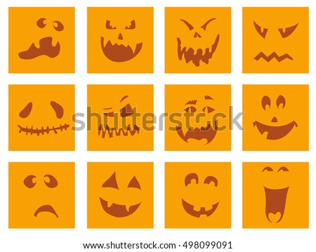 vector illustration of scary halloween pumpkin faces icons on white background set scary halloween pumpkin - Scary Halloween Pumpkin Faces