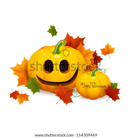 Vector Illustration of Scary Halloween Pumpkins - stock vector