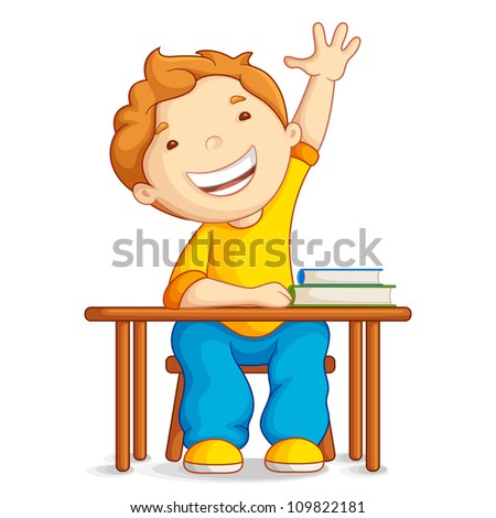 vector illustration of school boy sitting on table - stock vector