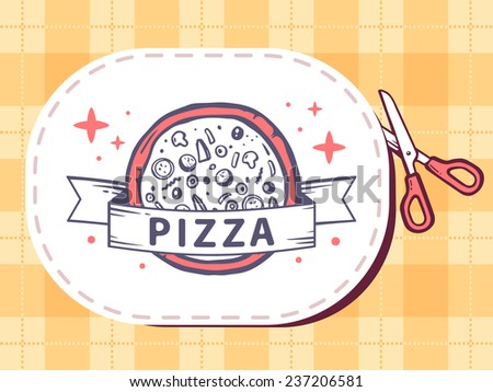 Vector illustration of scissors cutting sticker with icon of pizza on pattern background. Line art design for web, site, advertising, banner, poster, board and print. - stock vector
