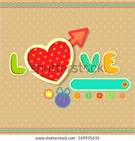 vector illustration of scrapbook design love background - stock vector