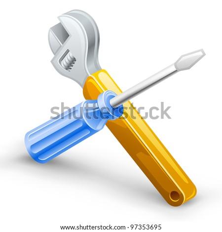 Vector illustration of screwdriver, spanner on white background. - stock vector