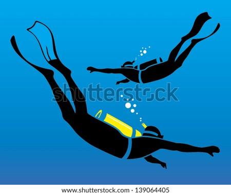 vector illustration of scuba diving - stock vector