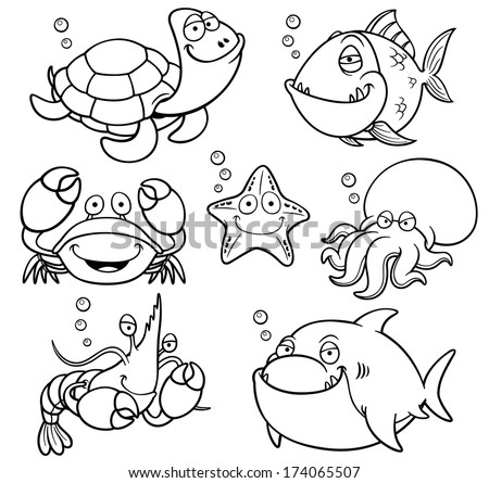 Vector Illustration Sea Animals Collection Coloring Stock