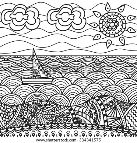 vector illustration of sea beach with ship (hand-draw doodles). Coloring book page design.