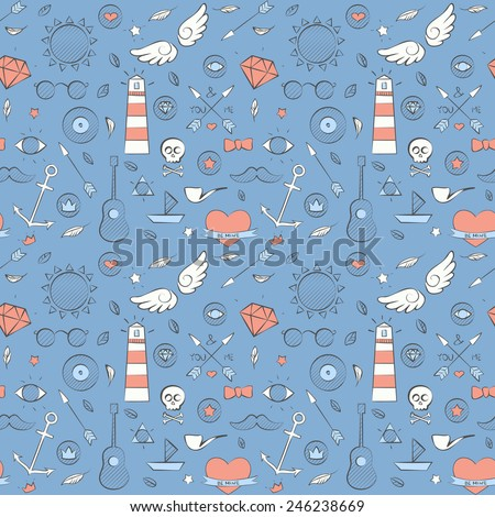 Vector illustration of sea doodle hipster seamless pattern. Hand drawn blue background. - stock vector