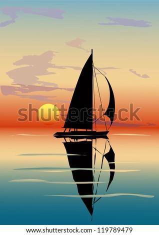 Vector illustration of sea dusk with a sailboat over sun - stock vector
