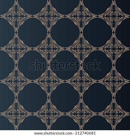 Vector illustration of seamless baroque background in vintage style - stock vector