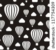 Vector illustration of seamless black-and-white pattern with air balloons - stock