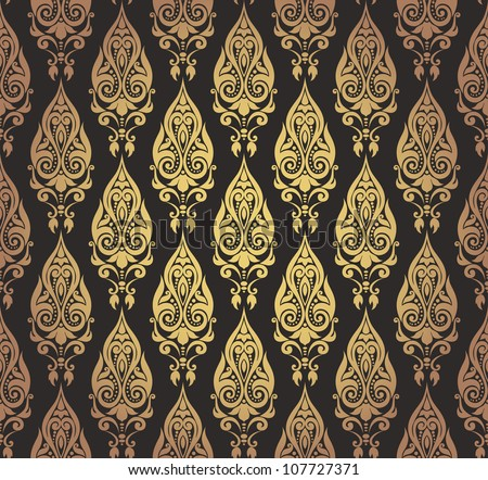 Vector illustration of seamless decorative wallpaper with oriental motifs in gold and black