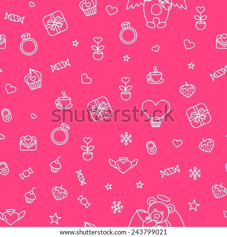 Vector illustration of seamless Love pattern for Saint Valentines Day. Good for gift wrapping packaging paper, printed on any size. Romantic theme for background with Lovely And Beautiful Teddy Bear