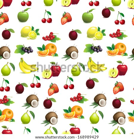 Vector Illustration of  Seamless pattern  of different fruits with leaves and flowers - stock vector