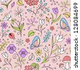 Vector illustration of seamless pattern with abstract flowers. It can  be used for web page background,surface textures,textile industry and others. - stock vector