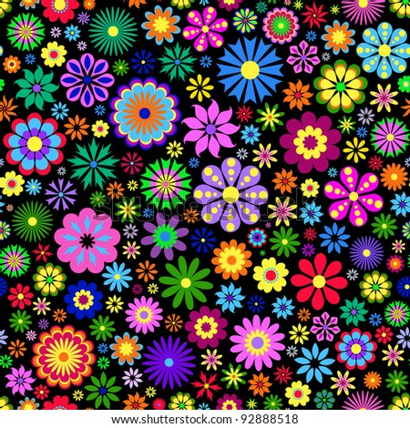 Vector Illustration of seamless pattern with  colorful flowers on black background. - stock vector