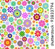 Vector Illustration of seamless pattern with  colorful flowers on white background. - stock vector