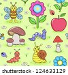 Vector illustration of seamless pattern with cute insects on summer meadow - stock vector