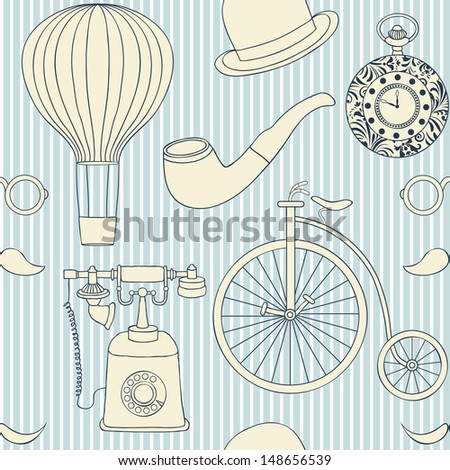 Vector illustration of seamless pattern with different retro objects - stock vector