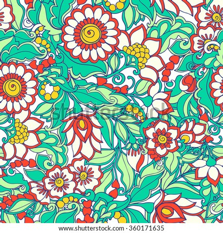 Vector illustration of seamless pattern with floral pattern. - stock vector