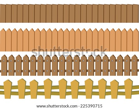 Vector illustration of seamless rustic wooden fence design isolated on white background - stock vector