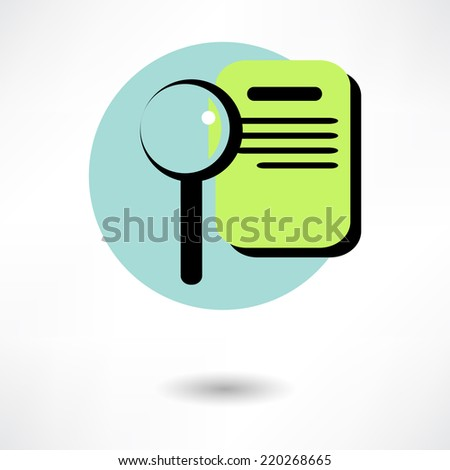 Vector illustration of search concept with check list on clipboard and magnifying glass - stock vector