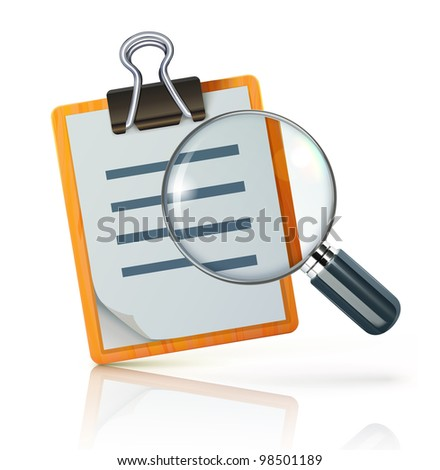 Vector illustration of search concept with check list on clipboard and magnifying glass