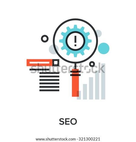 Vector illustration of search engine optimization flat line design concept. - stock vector