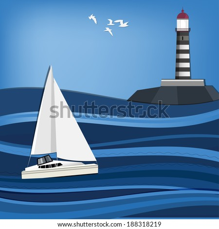 Vector illustration of seascape with lighthouse and sailboat - stock vector