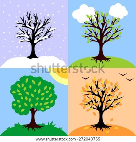 vector illustration of seasons  - stock vector