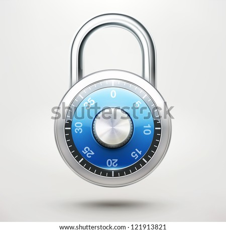 Vector illustration of security concept with locked blue combination pad lock - stock vector