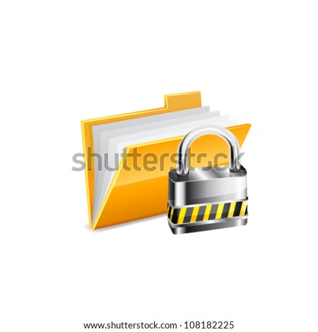 Vector illustration of security concept with yellow folder and locked pad lock - stock vector