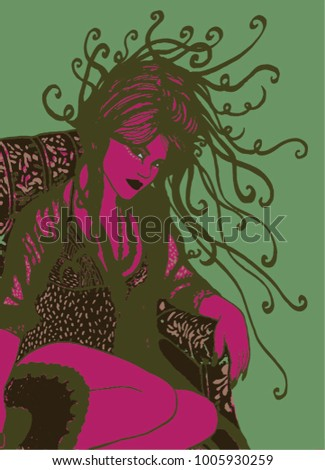 Vector illustration of seductive woman. Pink, turquoise, mint, pop art woman.