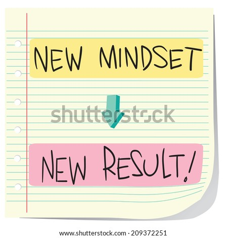 Vector illustration of Self Development Concept, New Mindset to New Result written on striped paper - stock vector