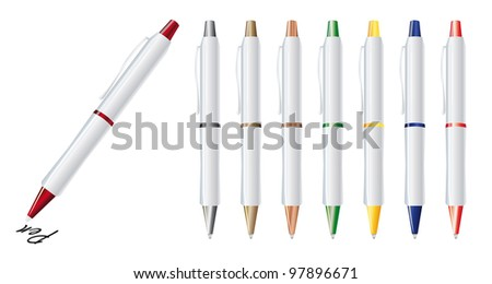 Vector illustration of set color pens - stock vector