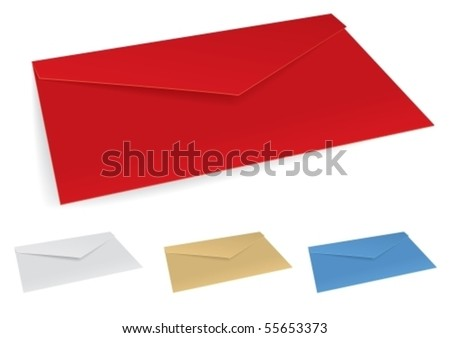 Vector illustration of set colored envelopes