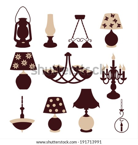 Vector illustration of set icons chandeliers and table lamps. - stock vector
