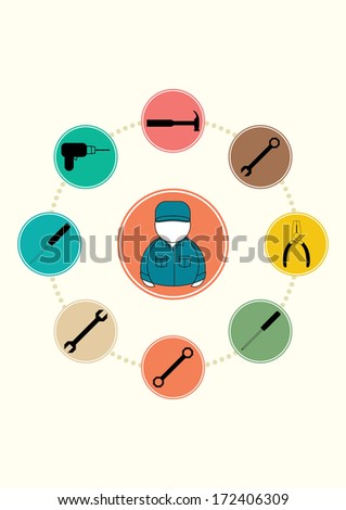 Vector illustration of Set icons tools NO.1 - stock vector