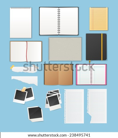 Vector illustration of Set include notebooks and papers - stock vector