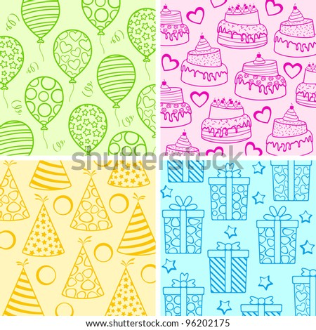 vector illustration of set of birthday wallpaper with different object - stock vector
