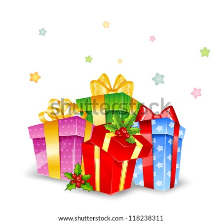 Vector illustration of Set of colorful gift boxes with bows - stock vector