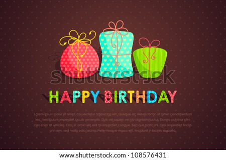 vector illustration of set of colorful gift for happy birthday - stock vector