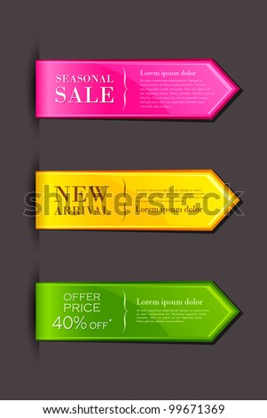 vector illustration of set of colorful label for sell promotion - stock vector